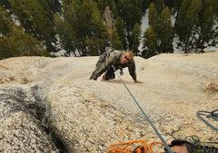 Rock Climbing Photo: Daniel trying to make the final 5.7ish lay-back mo...
