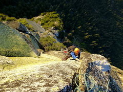 Rock Climbing Photo: Looking down at the last pitch.