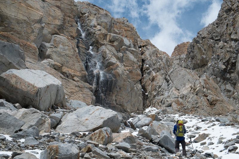 The route is a waterfall in early season.  May 24, 2014.
