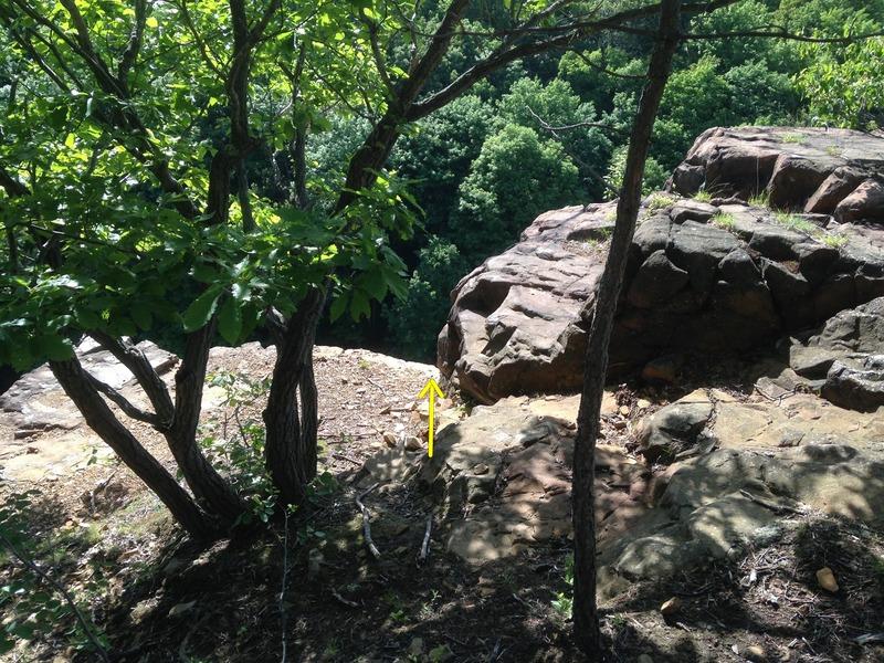 Top of Elegant Monkey.  Note loose stones.