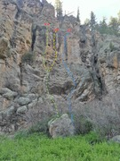 Rock Climbing Photo: The Roost overview photo.  Green - Superb Owl Yell...