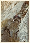 Rock Climbing Photo: Diff Ritchie leading on first ascent of GBM