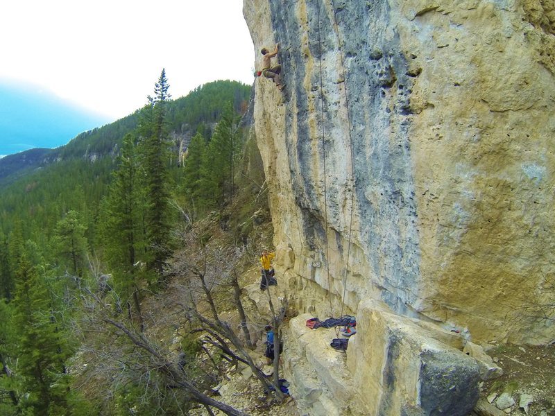 Rock Climbing Photo: Reggie yells out on Battlecry, 5.12c Indian Wars W...