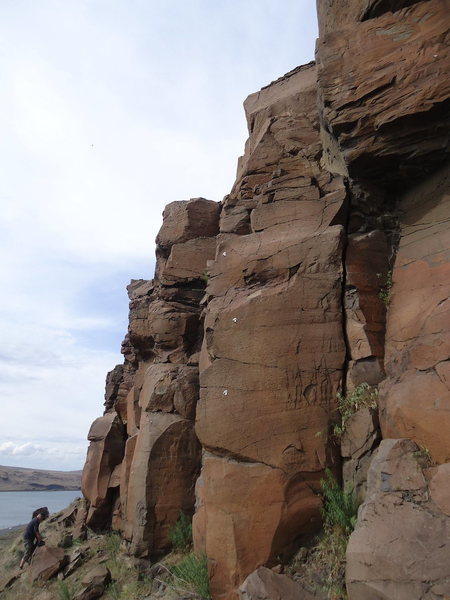 Rock Climbing Photo: Curious Gorge is the crack just right of the bolte...
