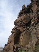 Rock Climbing Photo: Red Planet starts in the shadowed dihedral and asc...