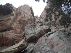 Elisa on second ascent of Cloudy With A Chance of Lichening.