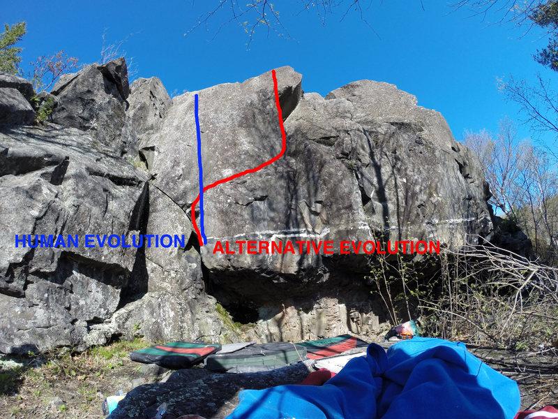 Rock Climbing Photo: Blue: Human Evolution Red: Alternative Evolution