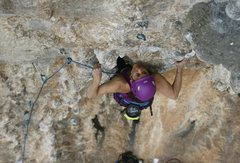 Rock Climbing Photo: Stephanie Allasondrone negotiating the lower porti...