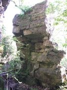 One of the larger standing pillars of rock, in the 'bouldering area' sitting next to the trail that winds along the base of the escarpment.