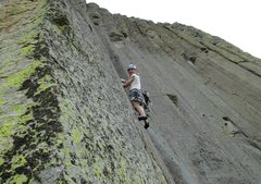 Rock Climbing Photo: Kat A. gets into the jamcrack on P2 of Belle Fourc...