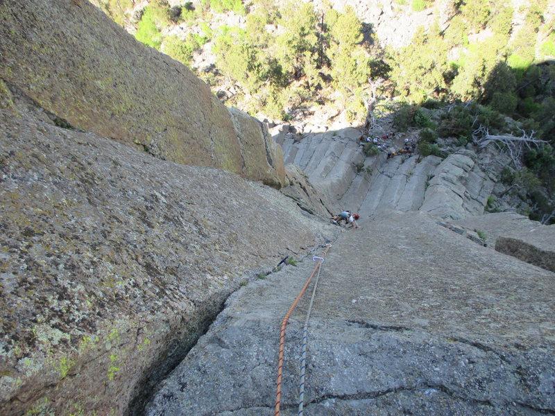 Rock Climbing Photo: Kat A follows Broken Tree (10b).  P2 is longer tha...