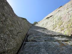 Rock Climbing Photo: Looking up Assembly Line (5.9) at Kat A atop P3 an...
