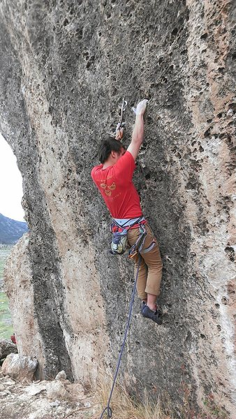 Brian working out the crux moves.