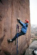 Rock Climbing Photo: Brad Bond, cleaning start of pitch 2. In the rain,...
