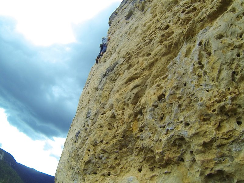 Tim climbs Marsha Gets Creamed, 5.10a<br> Bradyism Wall. Big Picture Gully.<br> Spearfish Canyon, SD.