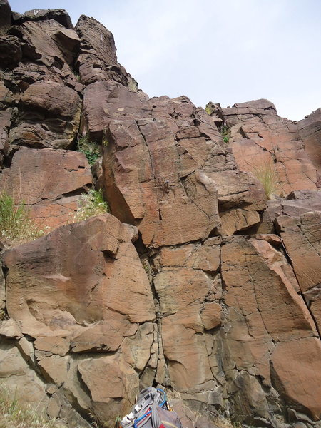 Rock Climbing Photo: Pull though a slightly overhanging block for the f...