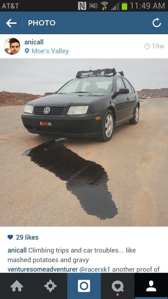 Rock Climbing Photo: Jetta w/busted oil pan