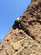 Rock Climbing Photo: Working up the initial wide crack-like feature at ...