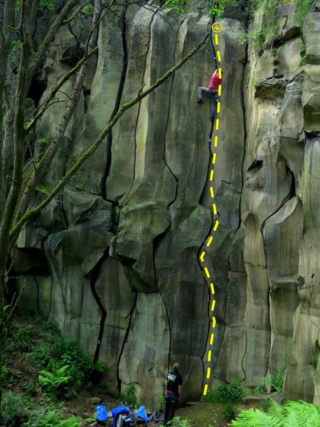 Rock Climbing Photo: The route (David is climbing)