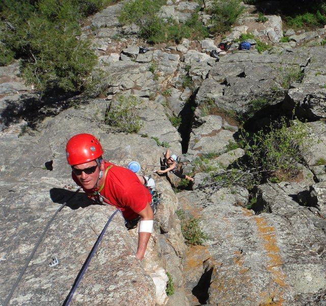 Rock Climbing Photo: Hudson and Chauncey on P1.