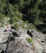 Rock Climbing Photo: Chauncey on P2. Notice the roof we passed down to ...