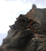 Photo stolen from Bill Olszewski for beta purposes. The climber in the photo is on Tag Team. The red line is the approximate line we look for Total Eclipse.