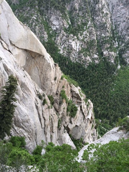 Rock Climbing Photo: Wheels as seen from up canyon.  Final dihedral is ...