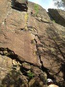 Rock Climbing Photo: No pro?  Jesse has 11 pieces under the block.