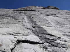 Rock Climbing Photo: Moonlight Maddness. Mike leading up P1.
