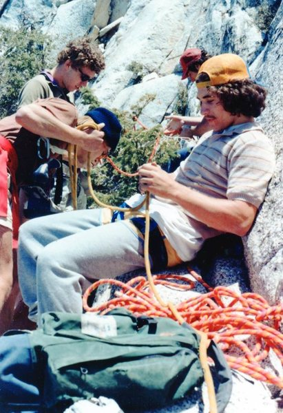 "From Bad Traverse Ledge. Alan Busby, Robert "" 'da Simpleton"", Dan ""The Dough Man"", and Banny Root before hiking The Step in 1982."