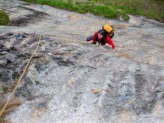 Rock Climbing Photo: Matt coming up P1.  Spinal columns found.