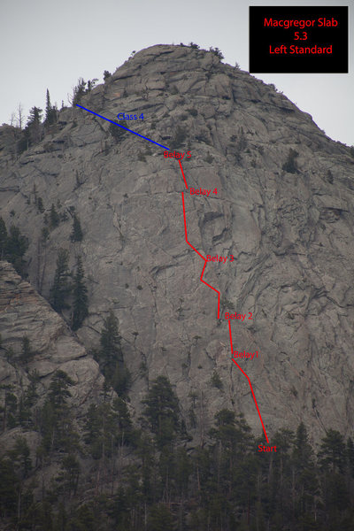 This is the route that I took up McGregor Slab. It was a windy day, so I did short pitches. I was able to well protect this route. I found pro every 6 to 15 feet. I would rate this route as 5.5.