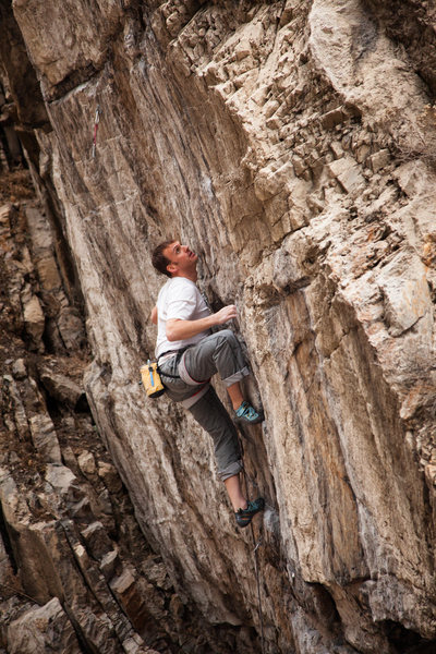 Rock Climbing Photo: Clayton Andersen eyes down the start of the techy ...