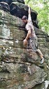 Rock Climbing Photo: Hanging at the top of Dollar Bills - V2 at Bear Ro...