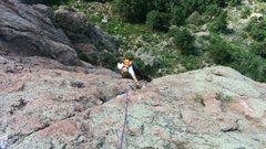 Rock Climbing Photo: Kyle pulling the bulge on p2.