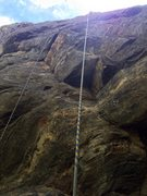 Rock Climbing Photo: The first few bolts, and the crux. Note: it's not ...