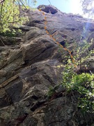 Rock Climbing Photo: Slightly wider shot of the lower portion of the ro...