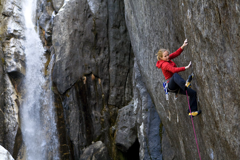 Beth Rodden on Meltdown.<br> From Wikipedia:<br> 2008: Meltdown(ungraded, thought 5.14c, FA), Upper Cascade Falls, Yosemite Valley, California. She worked the 70-foot crack for most of the winter before redpointing, placing all protection on the redpoint ascent.<br> (not my photo)
