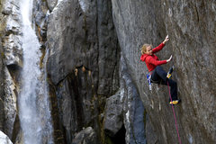 Beth Rodden on Meltdown. <br />From Wikipedia: <br />2008: Meltdown(ungraded, thought 5.14c, FA), Upper Cascade Falls, Yosemite Valley, California. She worked the 70-foot crack for most of the winter before redpointing, placing all protection on the redpoint ascent. <br />(not my photo)