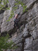 Rock Climbing Photo: Mary plugging the crux pro