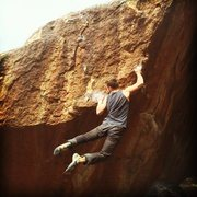 Rock Climbing Photo: Cutting feet, moving towards the finishing moves.