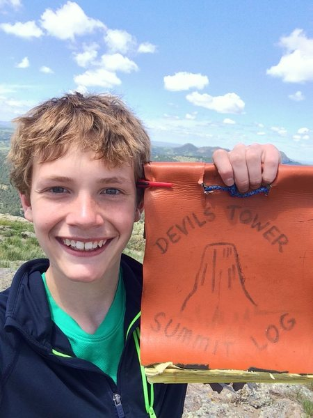 How wide can a 13-year-old smile?  Climb Durrance to find out!