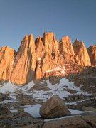 Rock Climbing Photo: Alpenglow on Aiguille Extra, Third Needle, Day Nee...