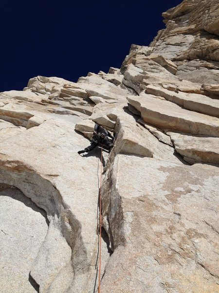 Rock Climbing Photo: Chris Orozco leading P1 of the East Face