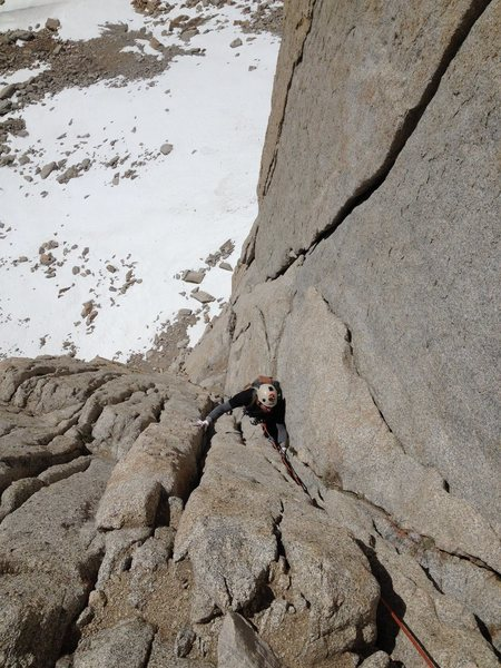 Chris Orozco following P2 of the East Face