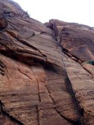 Rock Climbing Photo: Looking up the splitter corner system of Iron Mess...