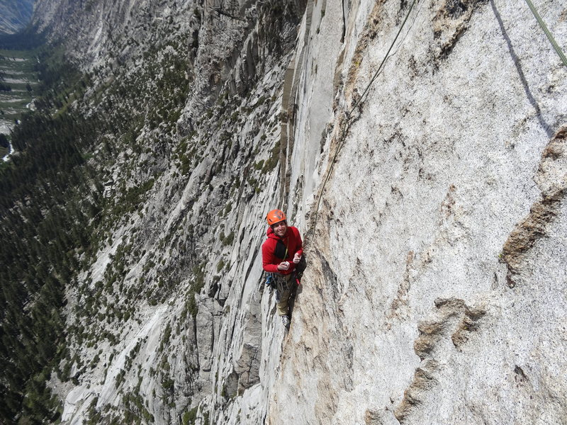 Rock Climbing Photo: Catching a no-hands rest on the amazing 9th pitch.