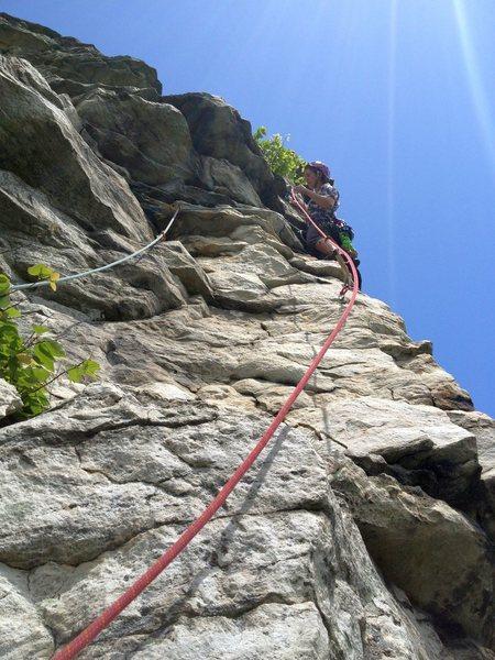 Rock Climbing Photo: Melissa starting the arete pitch
