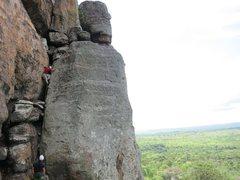 Rock Climbing Photo: Pitch 1: 5.6 chimney. No Pro.