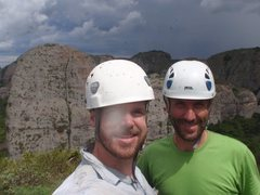 Rock Climbing Photo: Rui and Patrick (and flies) on the summit after th...